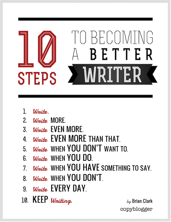 better writer graphic - 10 steps to become a better writer
