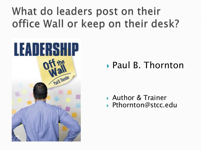 Leadership Off the Wall